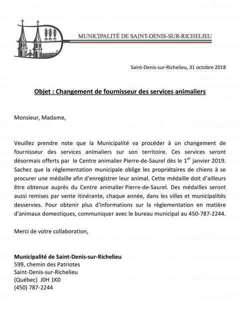 Changement fournisseur services animaliers page 001